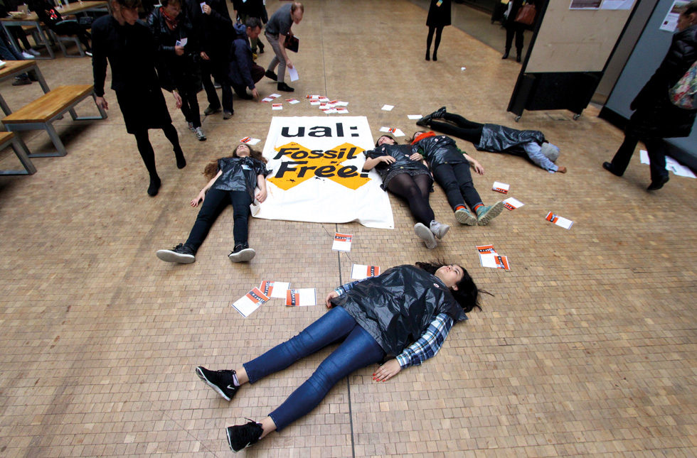 Fossil Free 'Die-in', Divest UAL, Central Saint Martins, London (29 October 2015). Photograph: Georgia Brown.