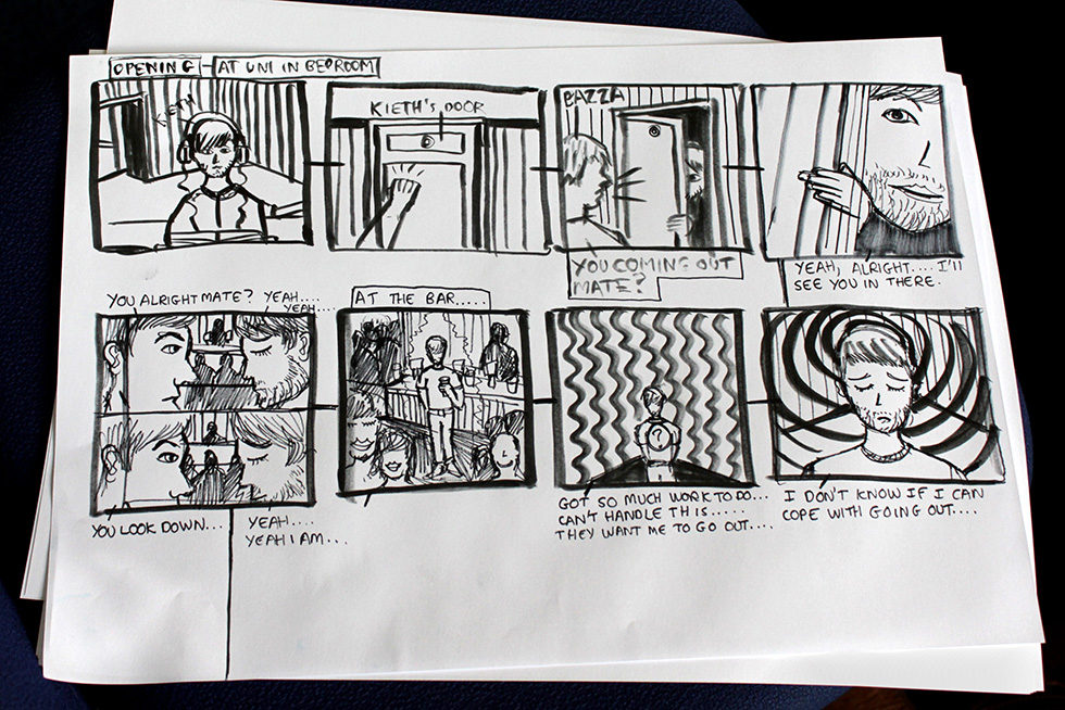 Norfolk Field Trip, Workshop 3, April 2015: Stop-frame animation storyboard drawn by Matt Ferguson, MA Graphic Design Communication, Chelsea College of Arts.
